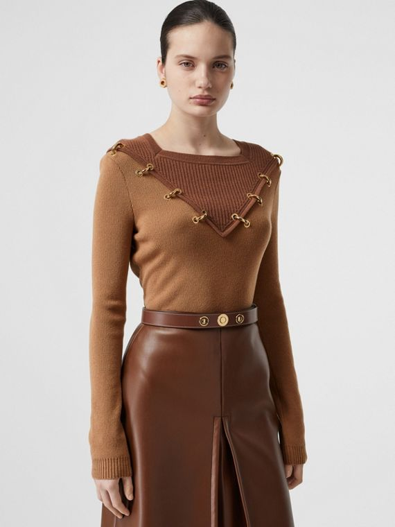 Ring-pierced Two-tone Wool Cashmere Sweater in Warm Camel