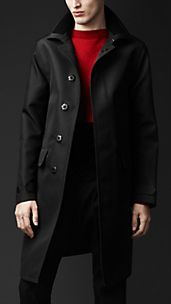 Concealed Placket Bonded Wool Trench Coat