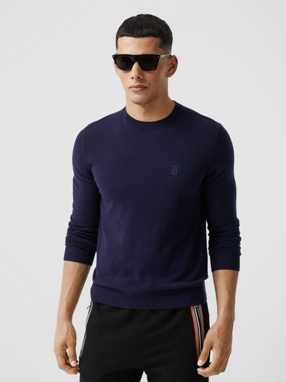 Monogram Motif Cashmere Sweater in Navy