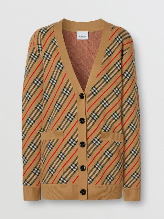 Stripe Merino Wool Blend Cardigan in Camel