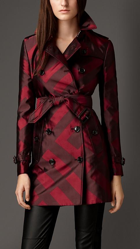 Mahogany red Check Silk Jacquard Trench Coat - Image 1