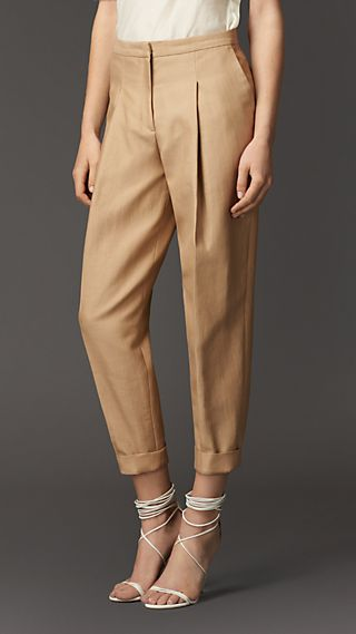 Pleat Detail Cotton Silk Trousers