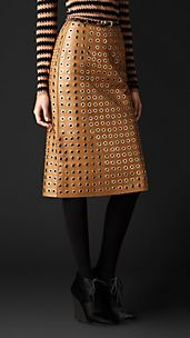 Leather Eyelet Skirt