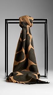 Animal Print Cashmere Scarf