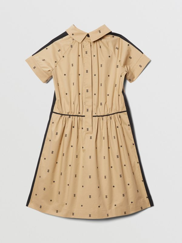 Star and Monogram Motif Stretch Cotton Dress in Sand | Burberry - cell image 2