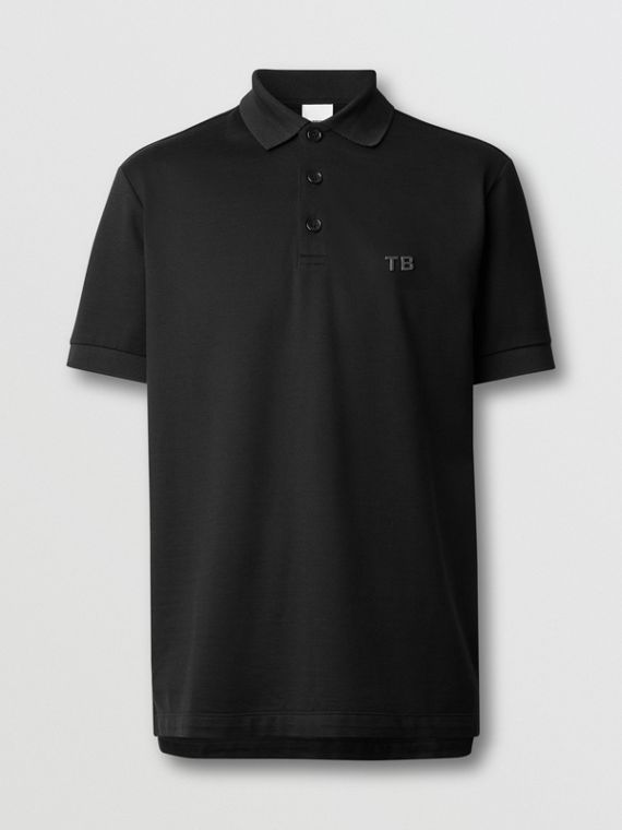 Letter Motif Silk Cotton Piqué Polo Shirt in Black