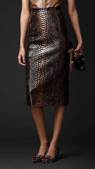 Optical Python Print Leather Skirt
