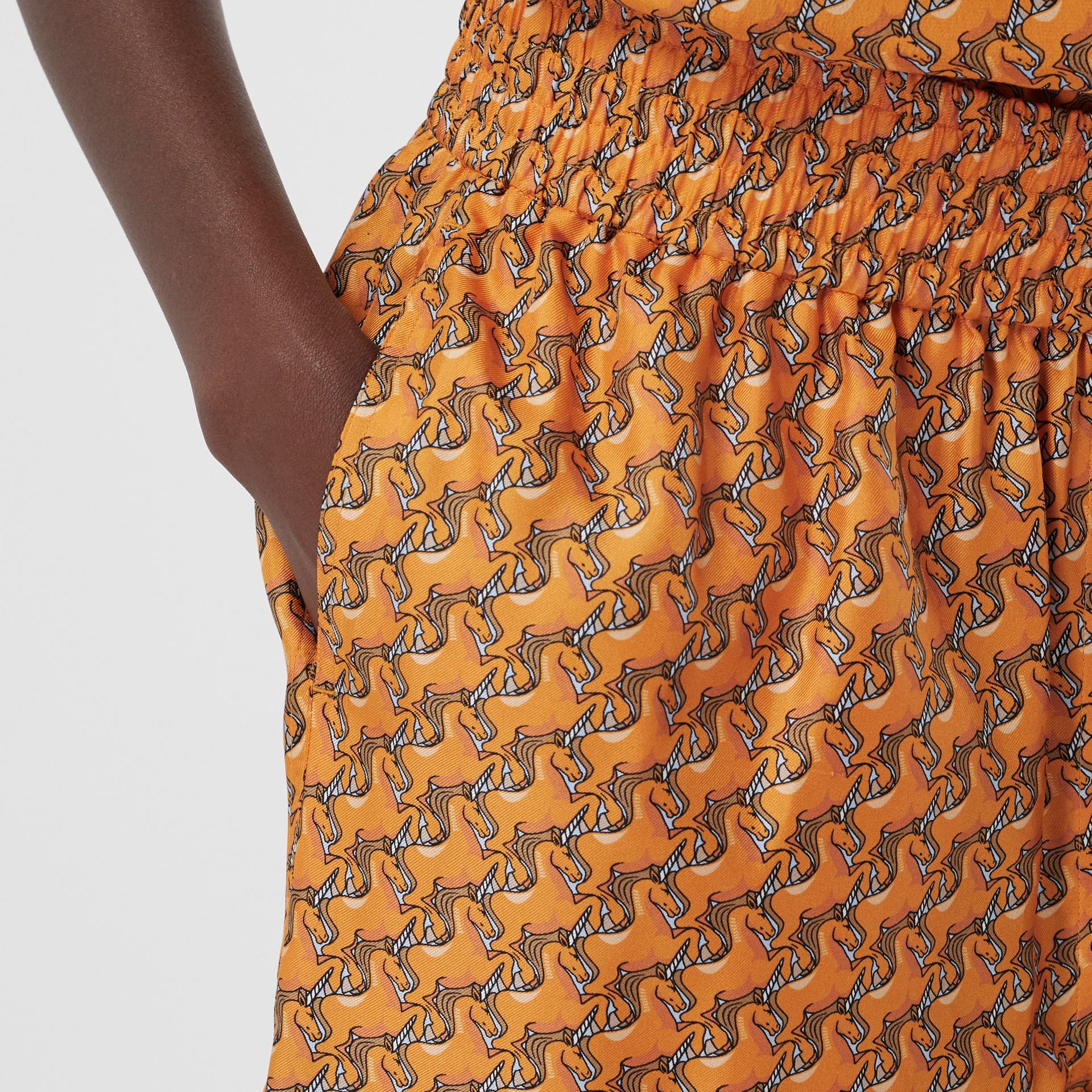 Unicorn Print Silk Twill Shorts in Bright Melon   Burberry United Kingdom - gallery image 1
