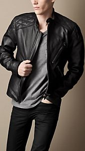 Quilt Detail Leather Biker Jacket