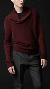 Shawl Collar Openstitch Cashmere Sweater