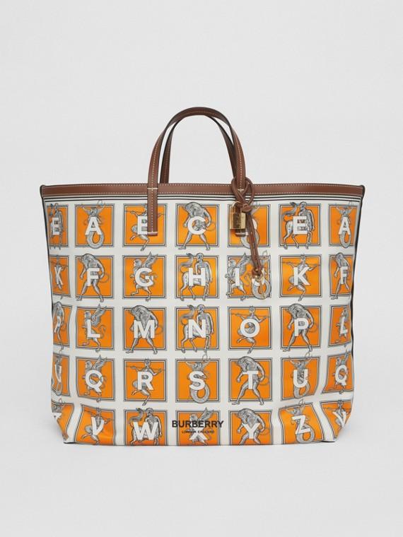 Mythical Alphabet Print Tote in Orange