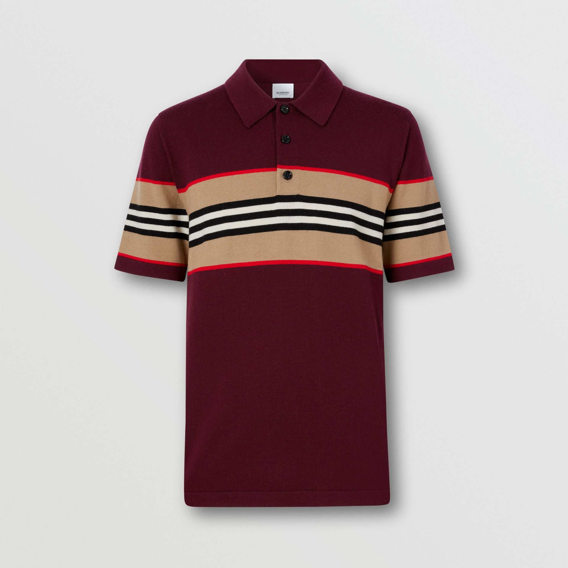 Icon Stripe Detail Merino Wool Polo Shirt in Deep Merlot - Men | Burberry - gallery image 3