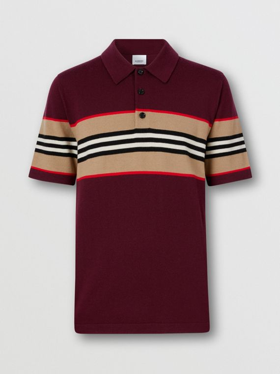 Icon Stripe Detail Merino Wool Polo Shirt in Deep Merlot