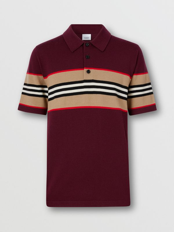 Icon Stripe Detail Merino Wool Polo Shirt in Deep Merlot - Men | Burberry - cell image 3