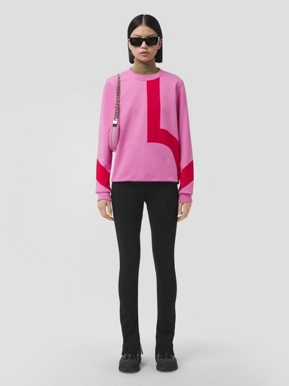 Geometric Print Cotton Oversized Sweatshirt in Primrose Pink