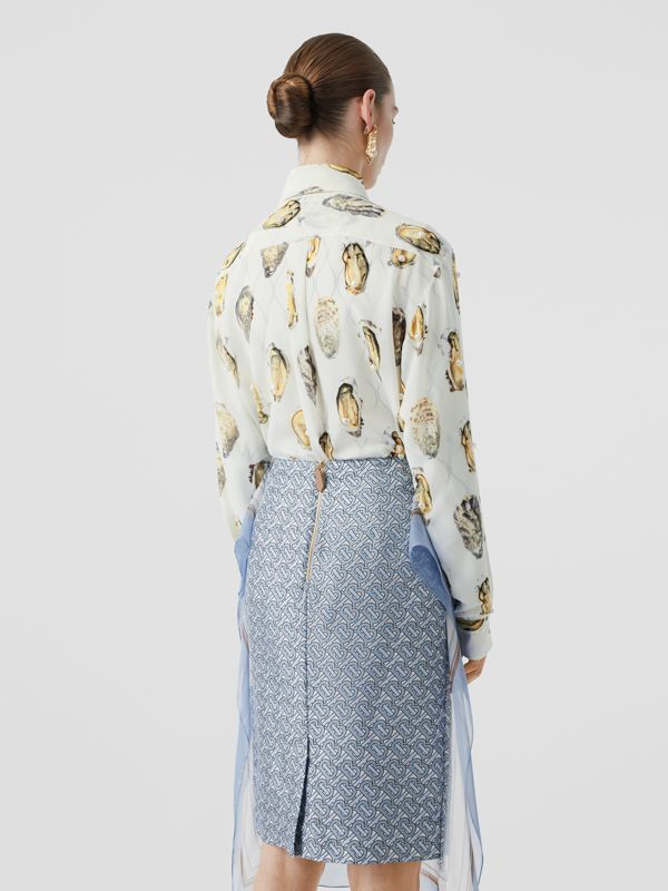 Embellished Oyster Print Silk Oversized Shirt in White - Women | Burberry - cell image 2