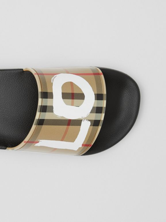 Love Print Vintage Check Slides in Archive Beige - Women | Burberry - cell image 1