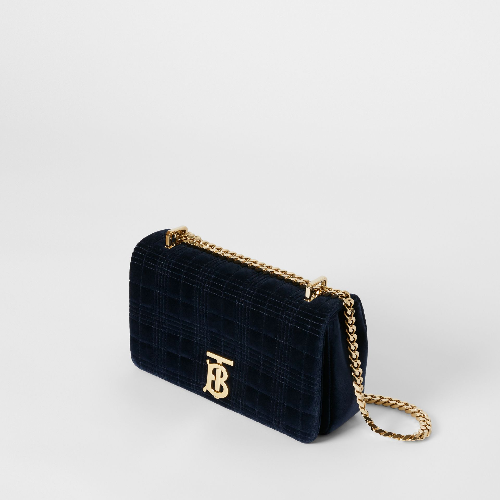 Small Quilted Velvet Lola Bag in Navy - Women | Burberry Australia - gallery image 3