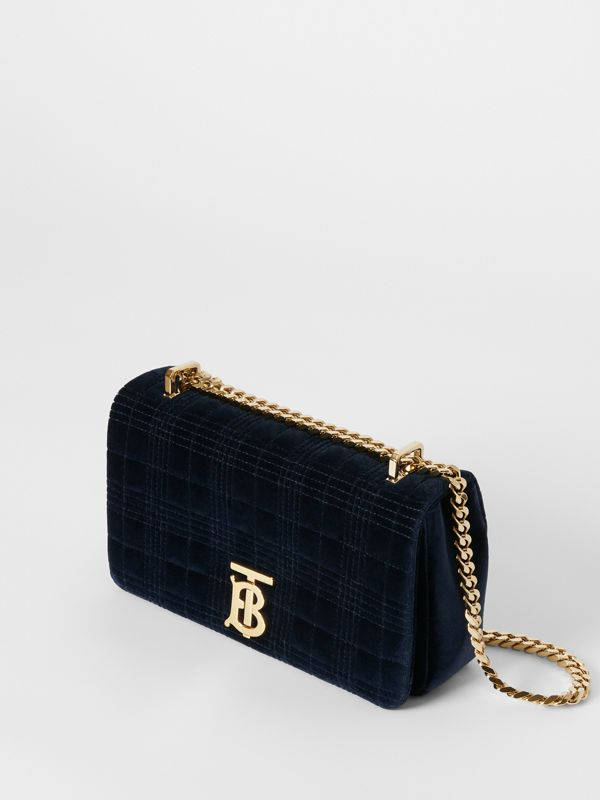 Small Quilted Velvet Lola Bag in Navy - Women | Burberry - cell image 3