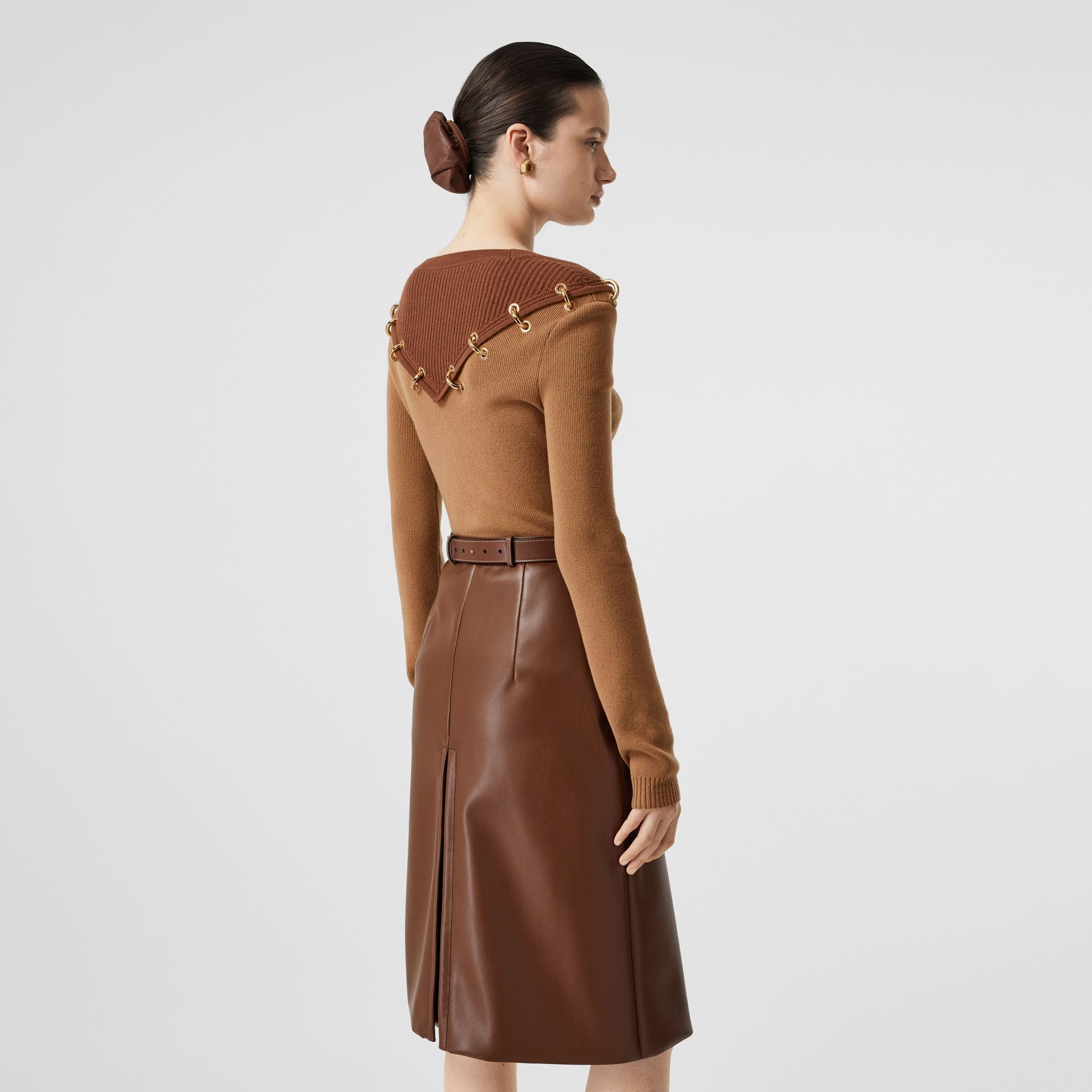 Ring-pierced Two-tone Wool Cashmere Sweater in Warm Camel - Women   Burberry - gallery image 2