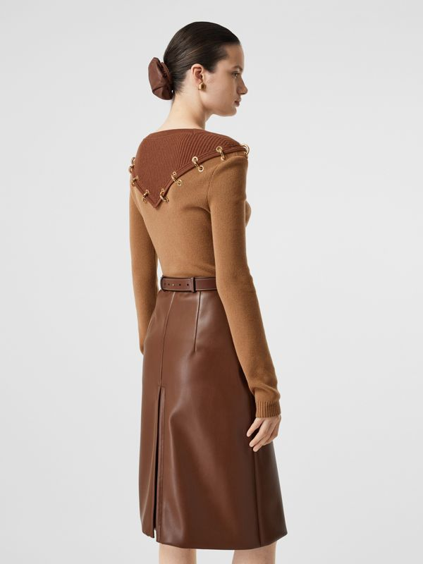 Ring-pierced Two-tone Wool Cashmere Sweater in Warm Camel - Women   Burberry - cell image 2