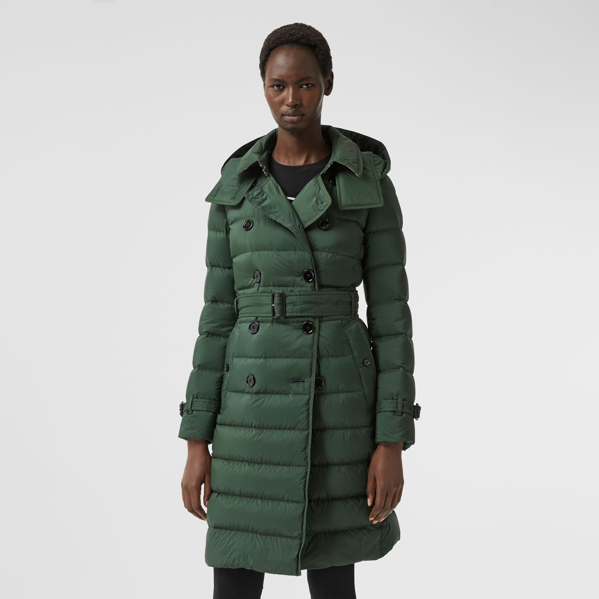 Logo Appliqué Detachable Hood Puffer Coat in Dark Pine Green - Women | Burberry Canada - gallery image 6