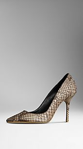Python Leather Pumps