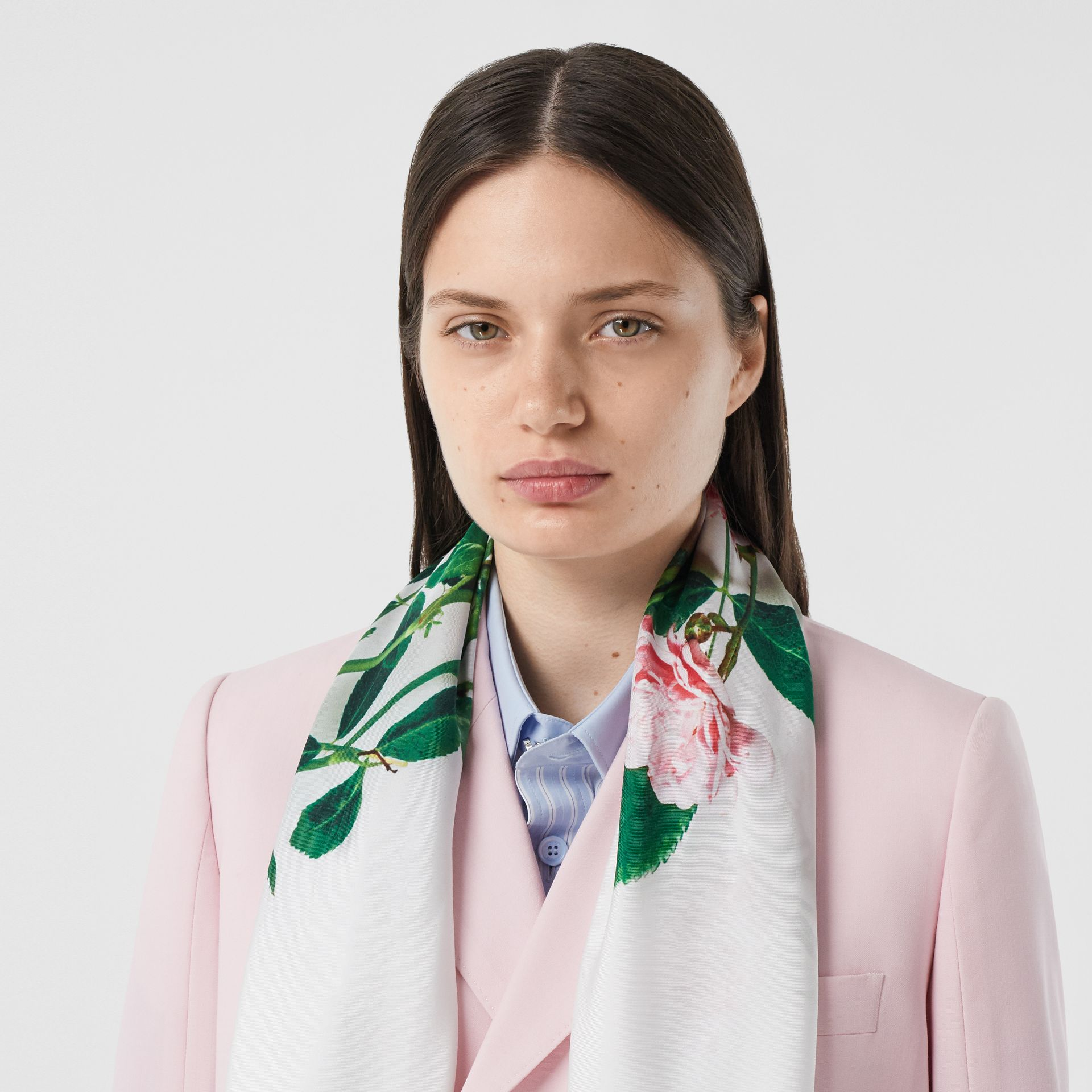 Floral Print Silk Square Scarf – Online Exclusive in Rose Pink | Burberry - gallery image 2