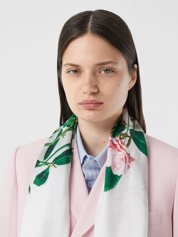 Floral Print Silk Square Scarf – Online Exclusive in Rose Pink | Burberry - cell image 2