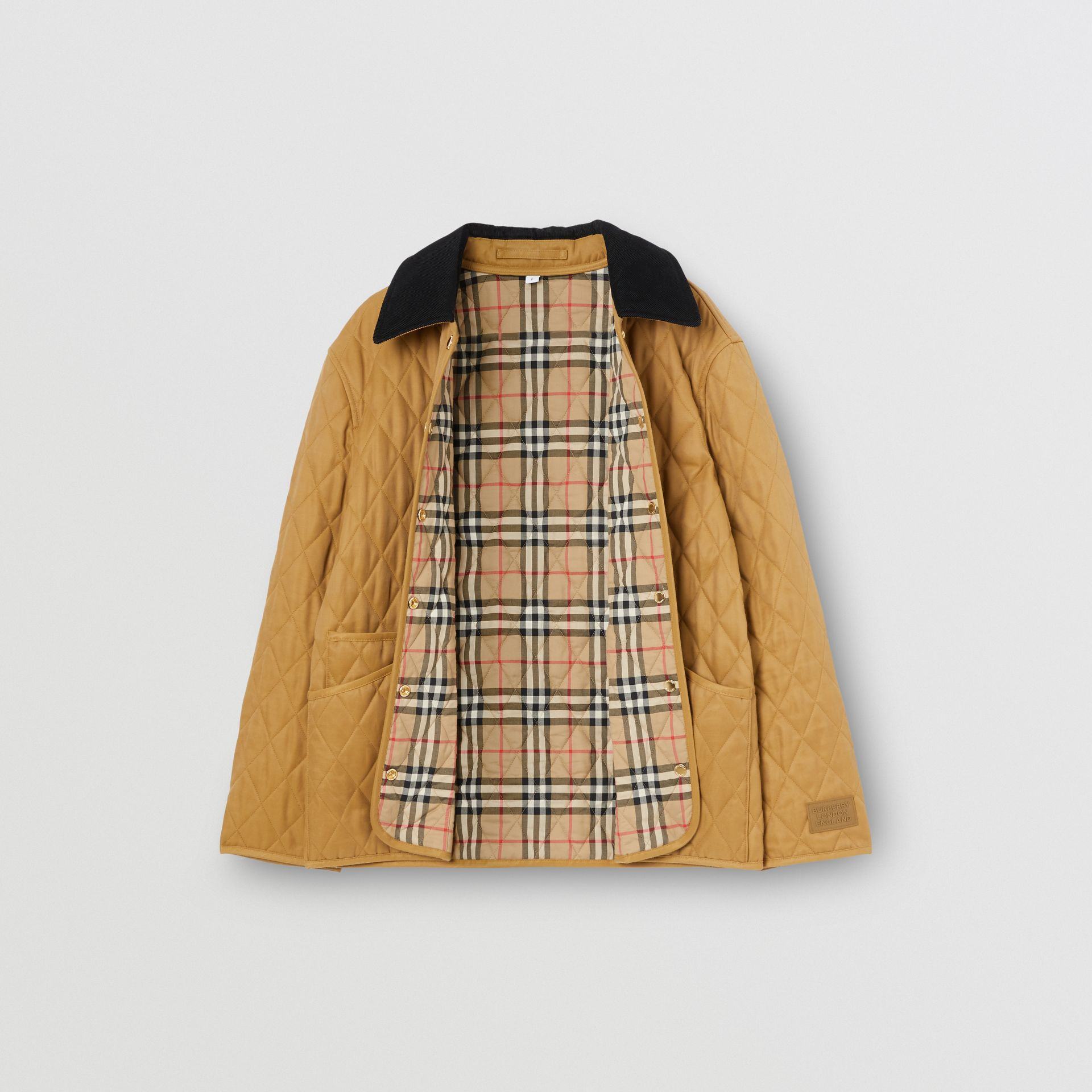 Corduroy Collar Diamond Quilted Jacket in Camel - Women | Burberry - gallery image 9