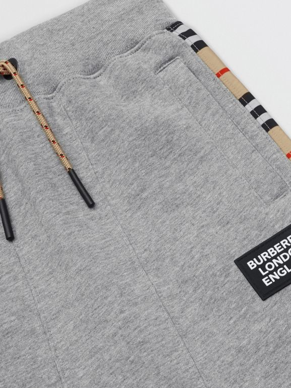 Icon Stripe Panel Cotton Trackpants in Grey Melange | Burberry United Kingdom - cell image 1