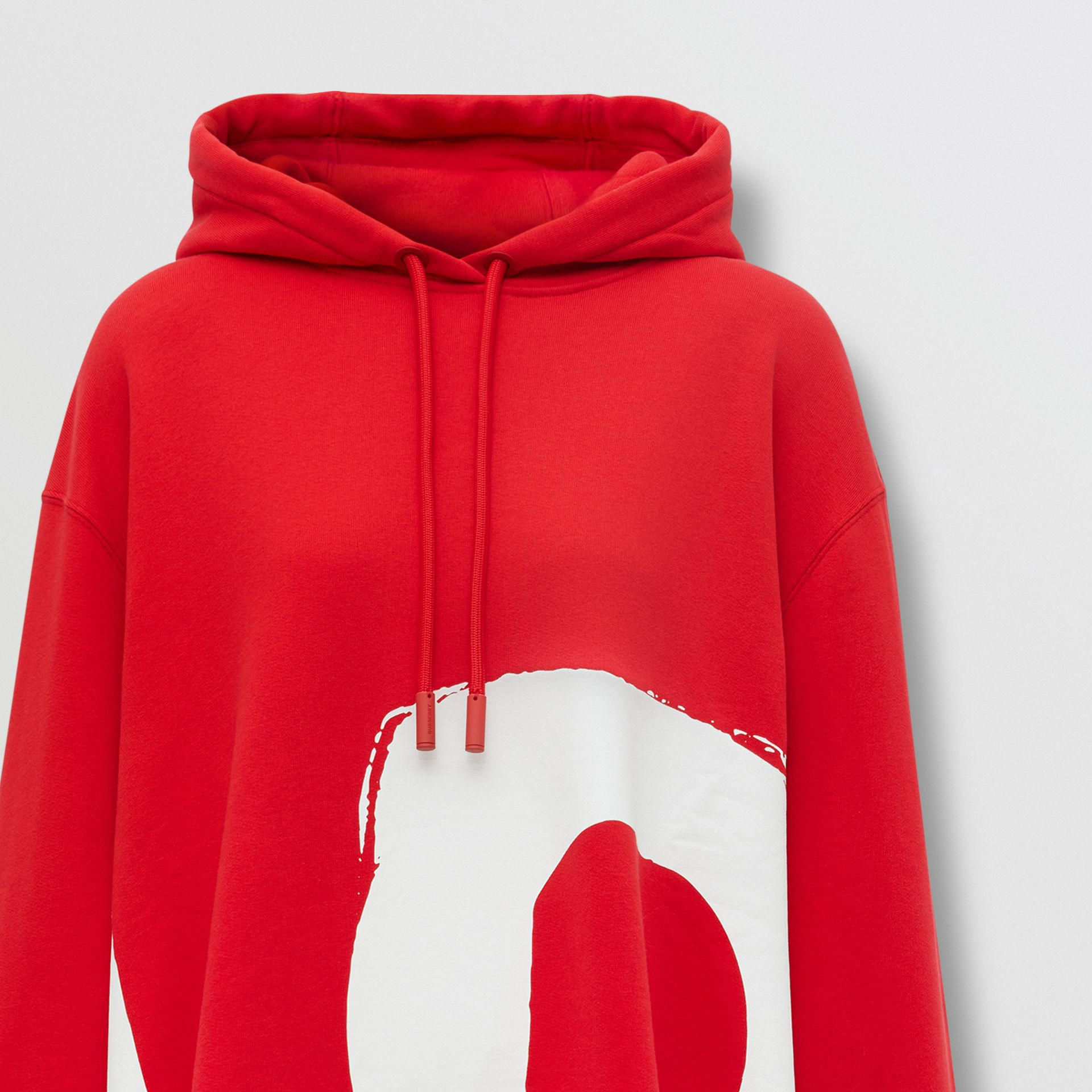 Love Print Cotton Oversized Hoodie in Bright Red - Women | Burberry - gallery image 7