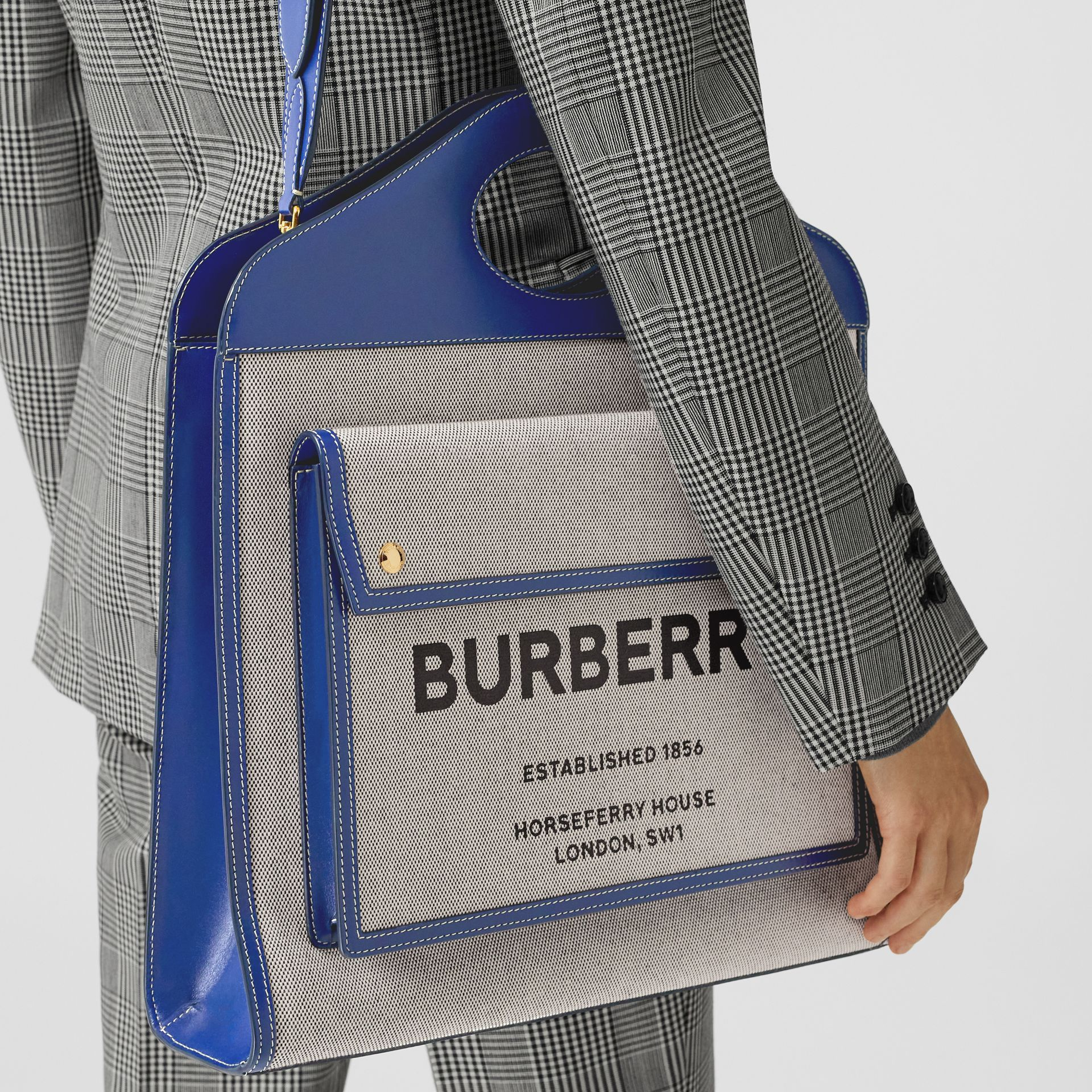 Medium Two-tone Canvas and Leather Pocket Bag in Ink Navy - Women | Burberry - gallery image 8