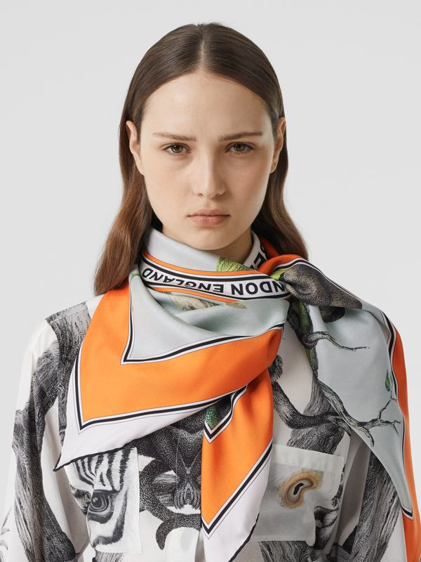 Monkey Print Silk Square Scarf in Light Opal Green | Burberry - cell image 2