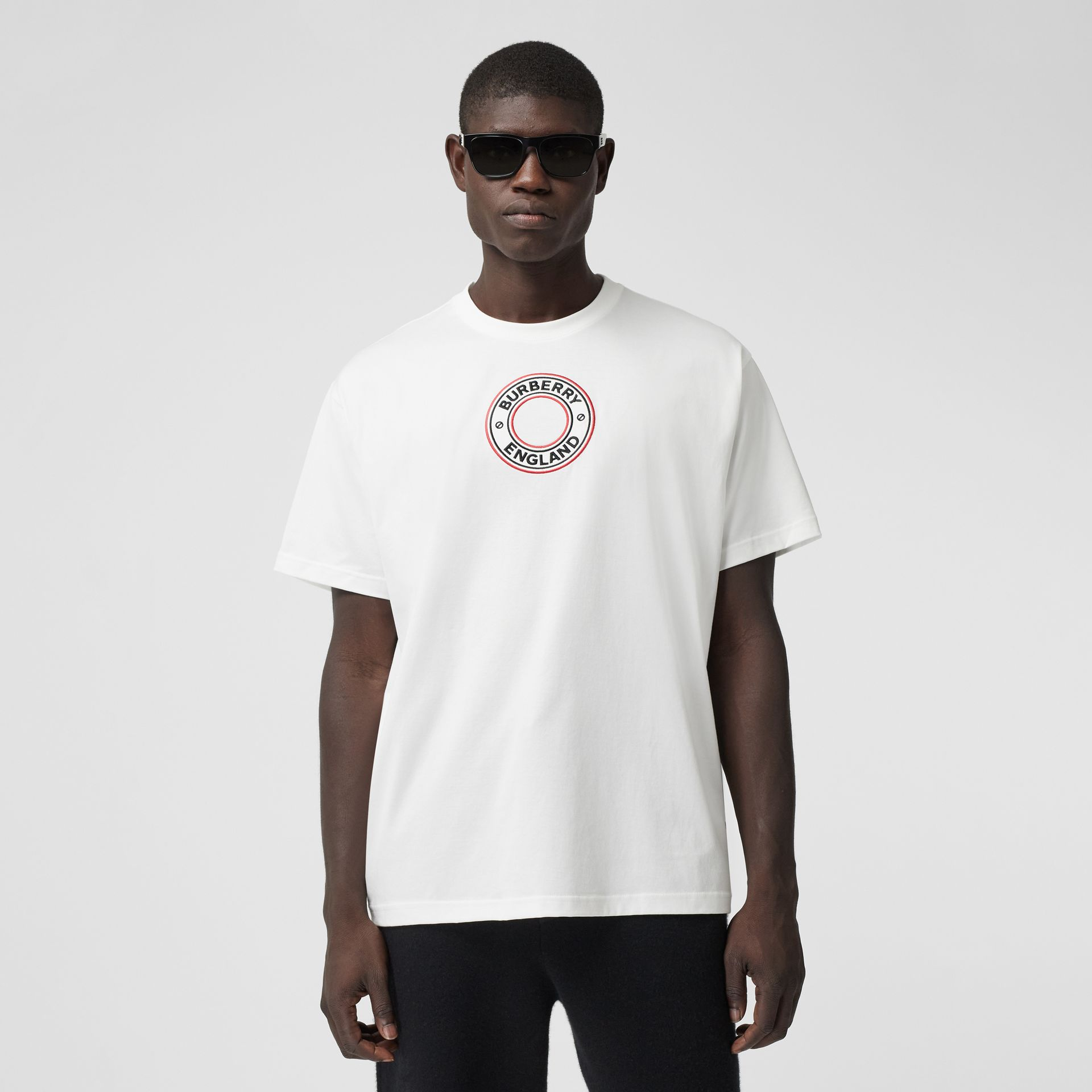 Logo Graphic Appliqué Cotton Oversized T-shirt in White - Men | Burberry - gallery image 0