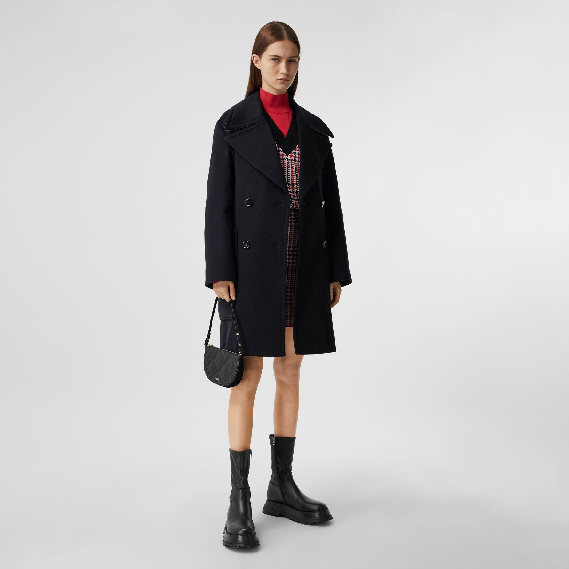 Pocket Detail Cashmere Pea Coat in Navy - Women | Burberry - gallery image 0