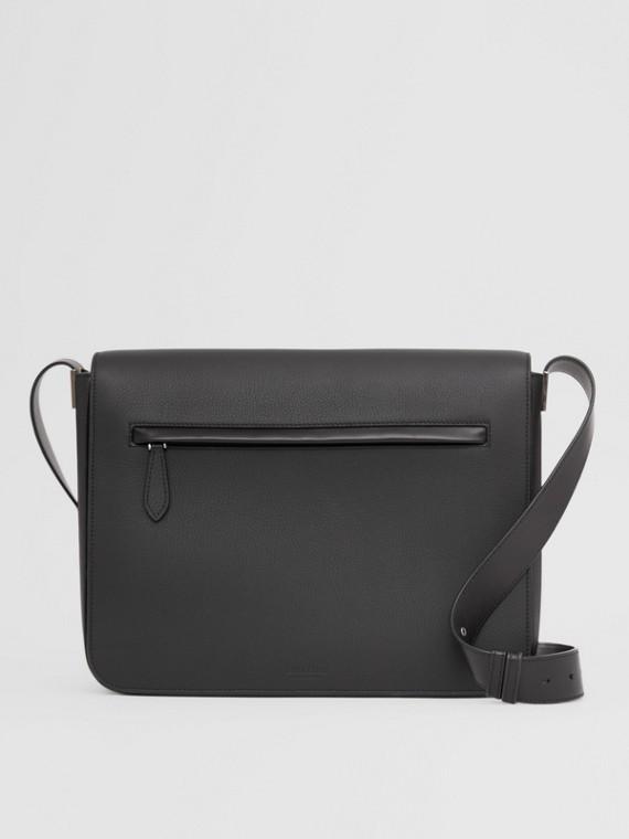 Large Grainy Leather Messenger Bag in Black