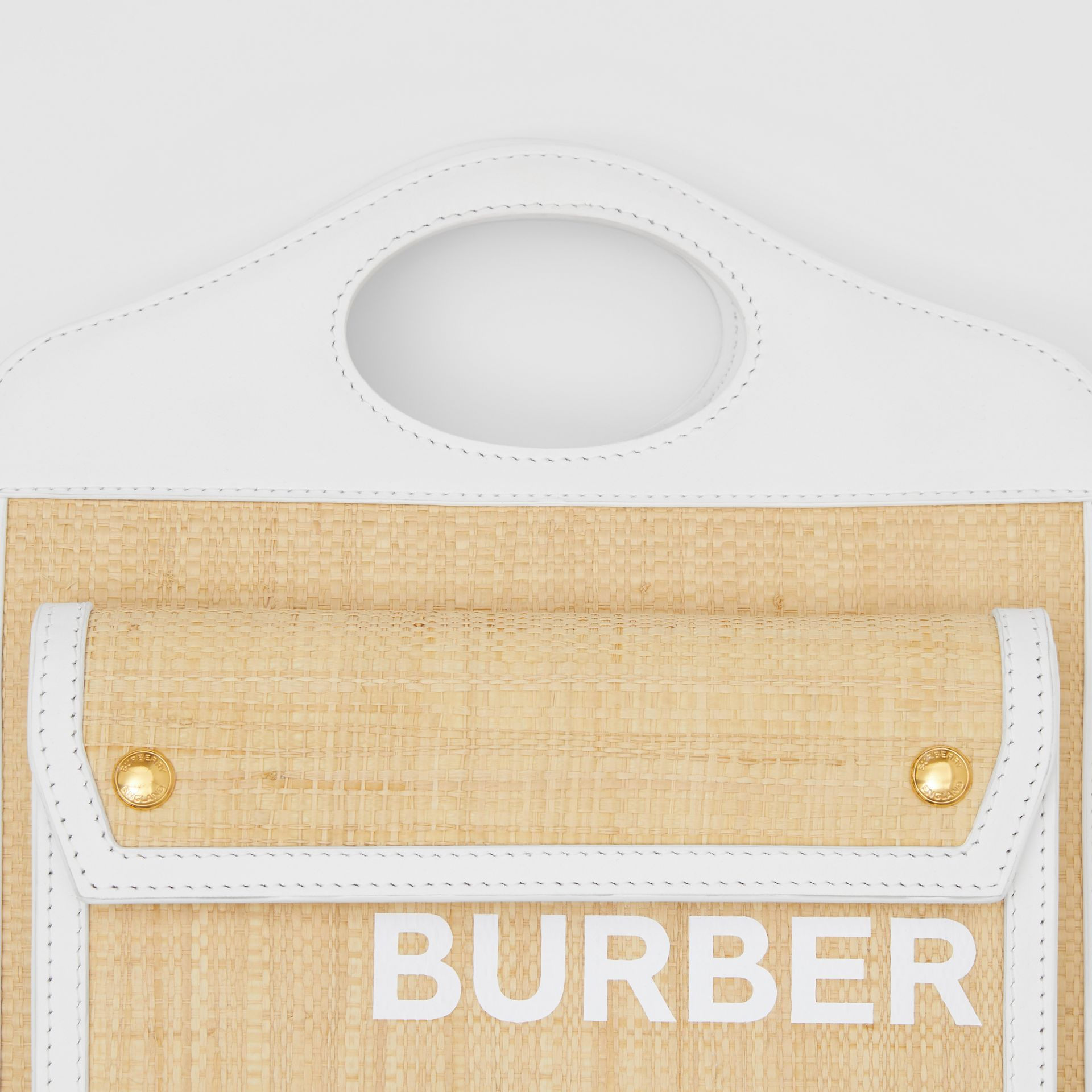 Mini Two-tone Raffia and Leather Pocket Bag in Natural | Burberry United States - gallery image 1