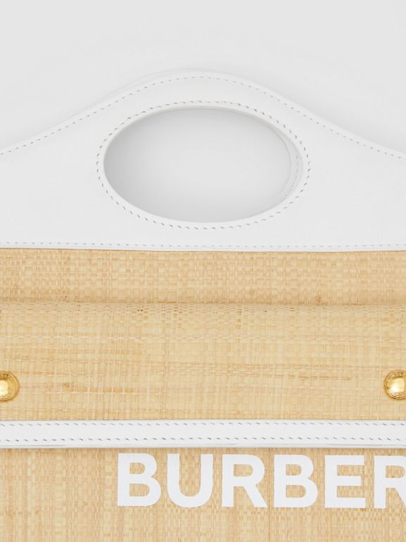 Mini Two-tone Raffia and Leather Pocket Bag in Natural | Burberry United States - cell image 1
