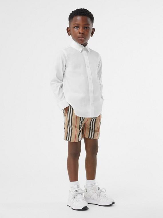 Monogram Motif Stretch Cotton Poplin Shirt