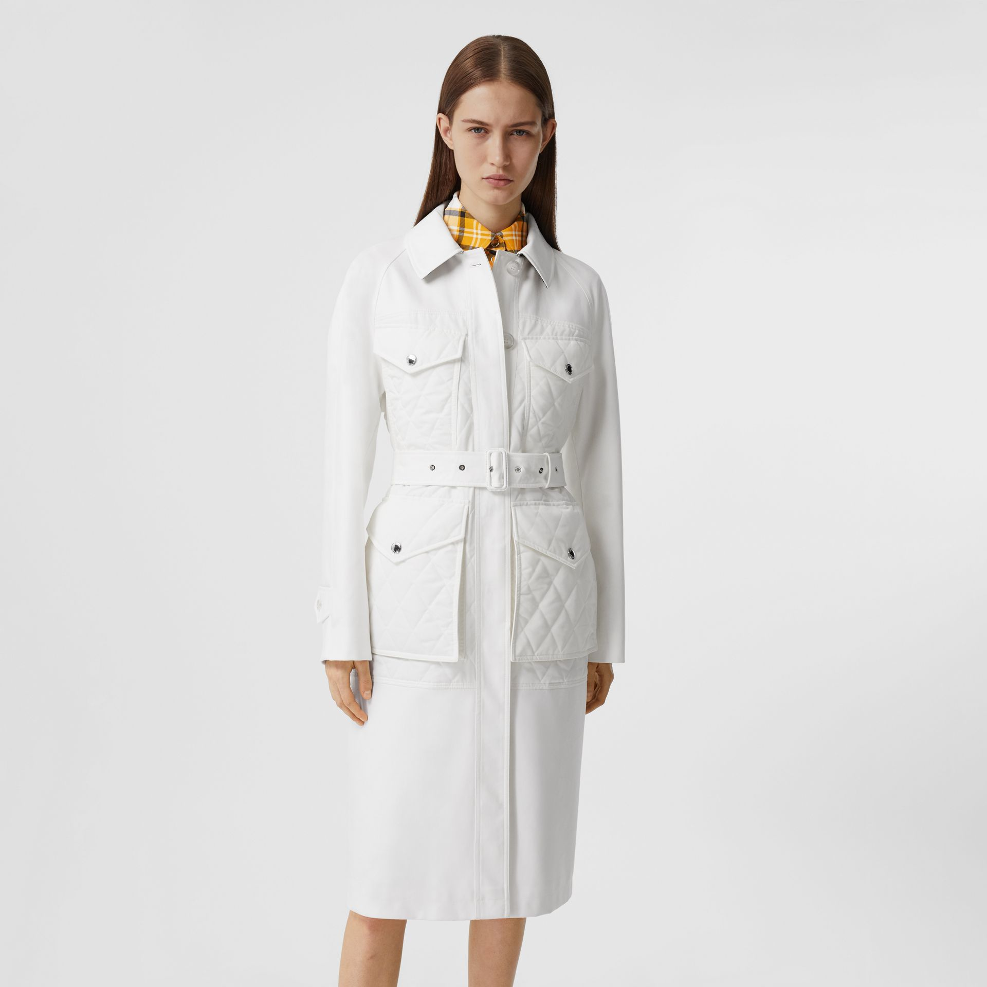 Diamond Quilted Panel Cotton Gabardine Car Coat in Natural White - Women | Burberry - gallery image 6