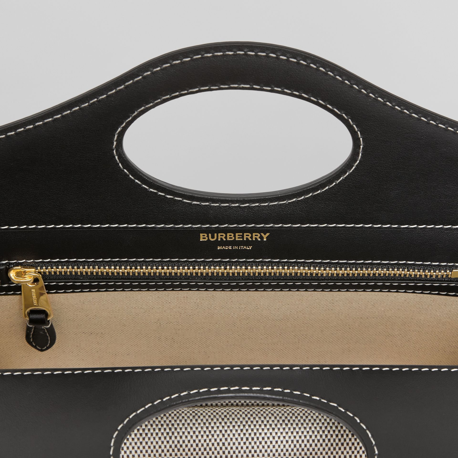 Mini Two-tone Canvas and Leather Pocket Bag in Black/fiery Red - Women | Burberry - gallery image 6