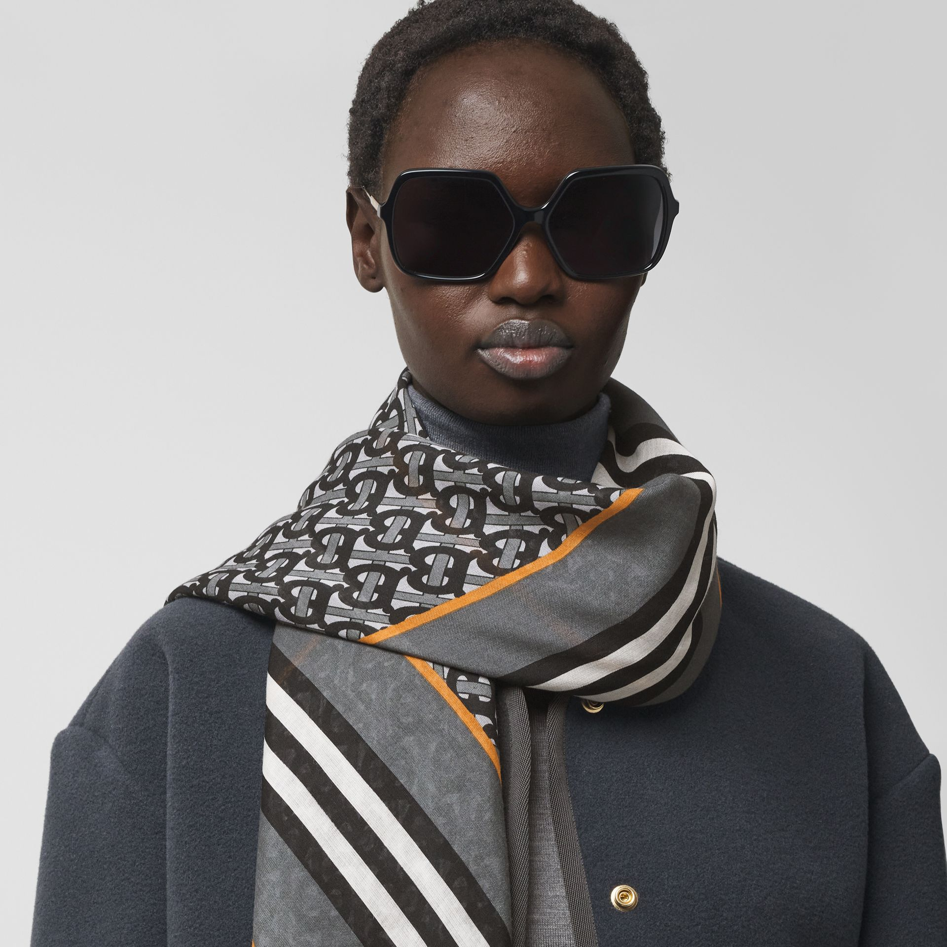 Icon Stripe Monogram Print Wool Silk Square Large Scarf in Graphite | Burberry - gallery image 2