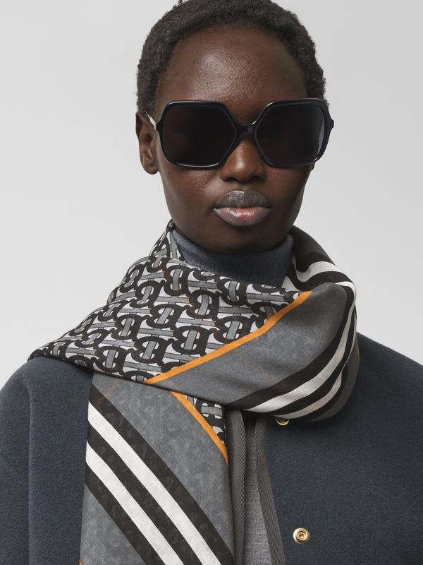 Icon Stripe Monogram Print Wool Silk Square Large Scarf in Graphite | Burberry - cell image 2
