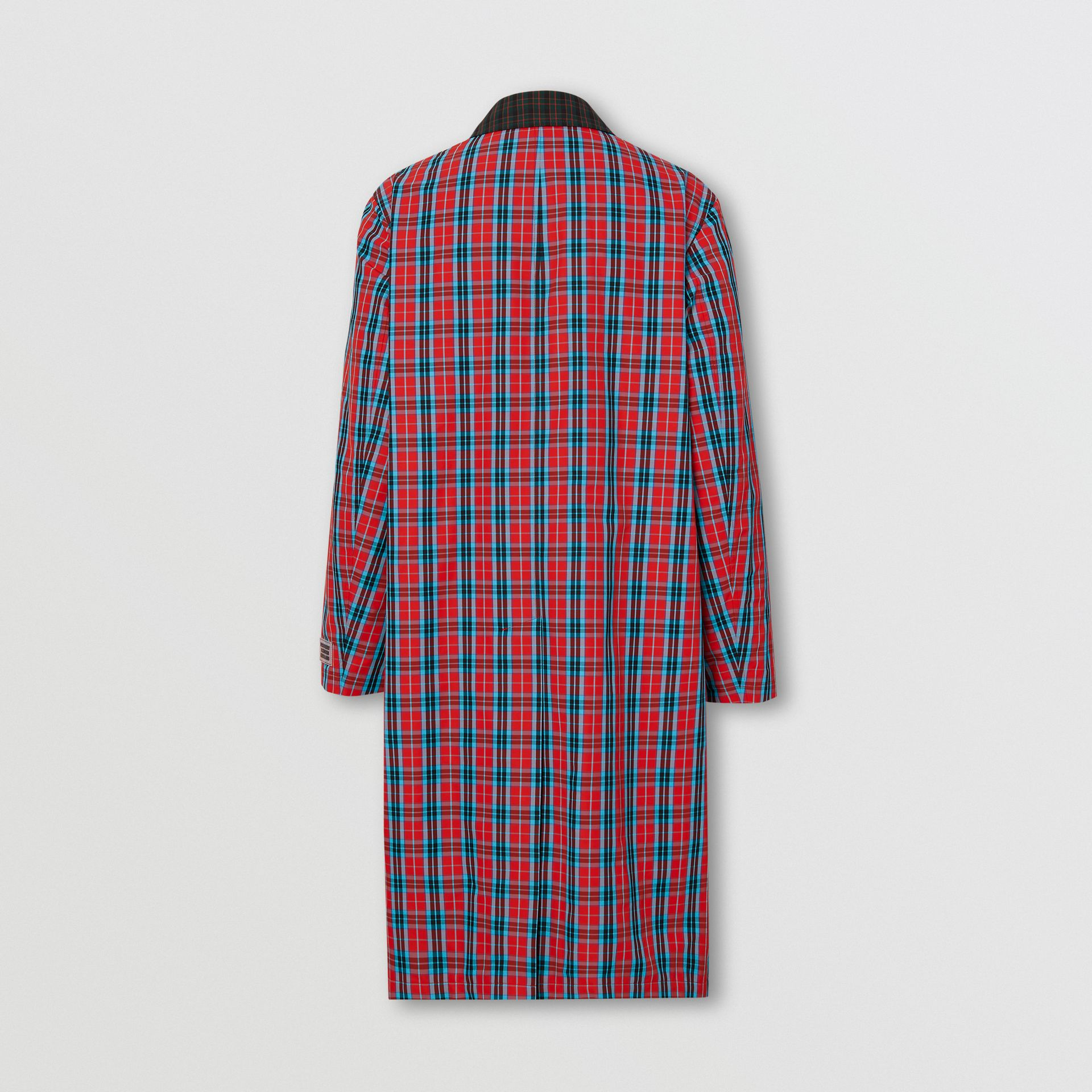 Contrast Collar Check Nylon Twill Car Coat in Red - Men | Burberry - gallery image 7