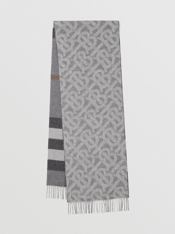 Reversible Check and Monogram Cashmere Scarf in Mid Grey