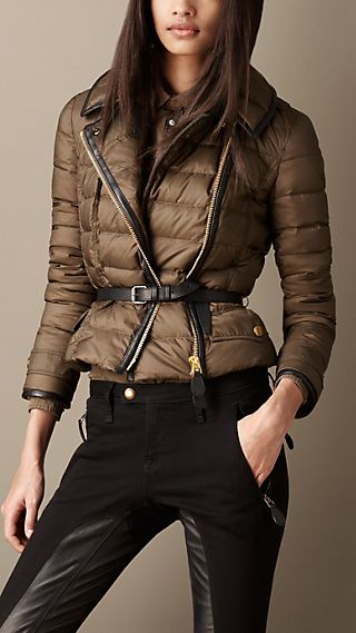 Down-Filled Leather Trim Puffer