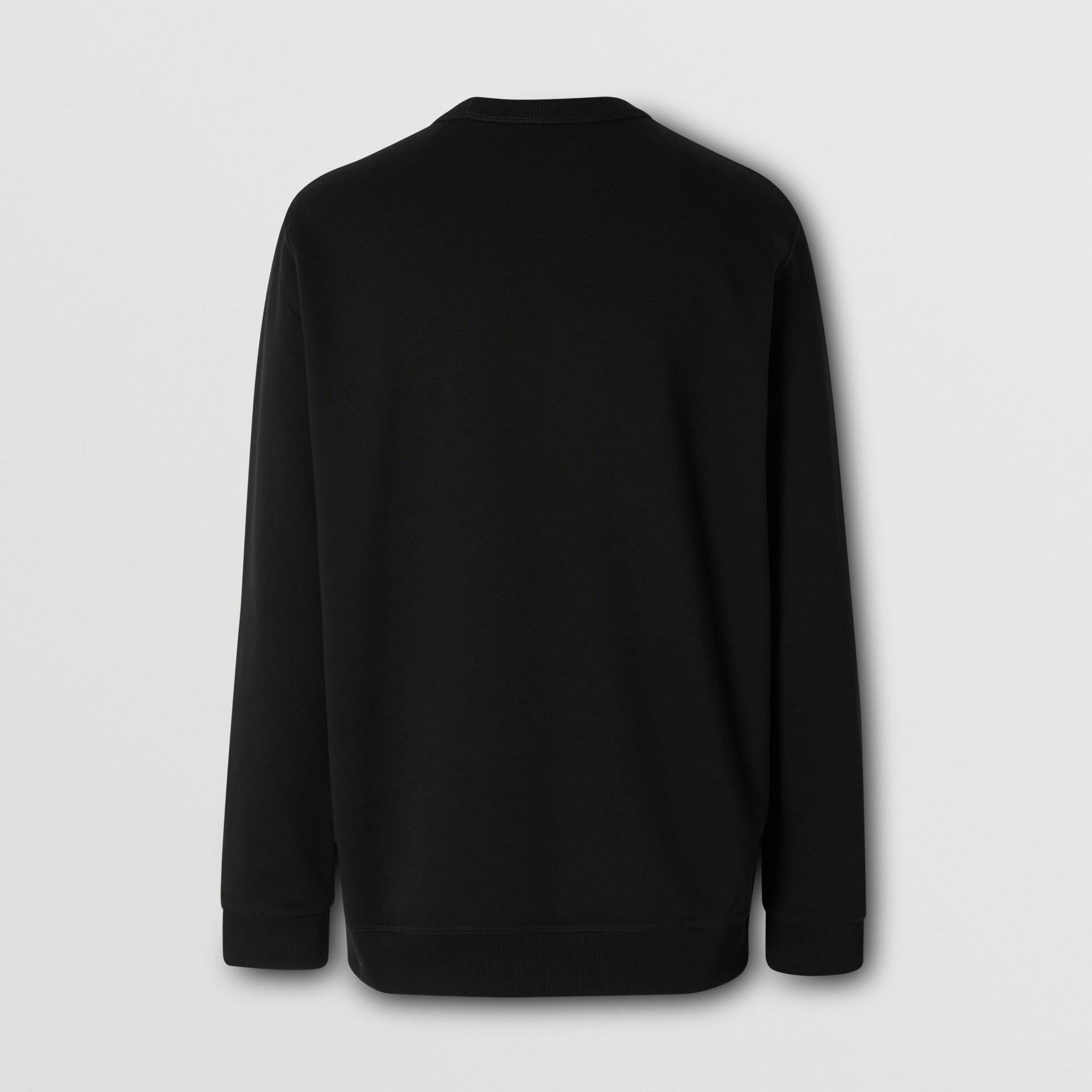 Monogram Motif Cotton Sweatshirt in Black - Men   Burberry - gallery image 6