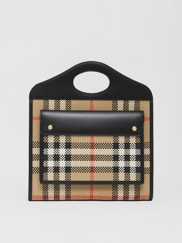 Bolsa Pocket de couro reticulado - Mini (Bege Clássico)