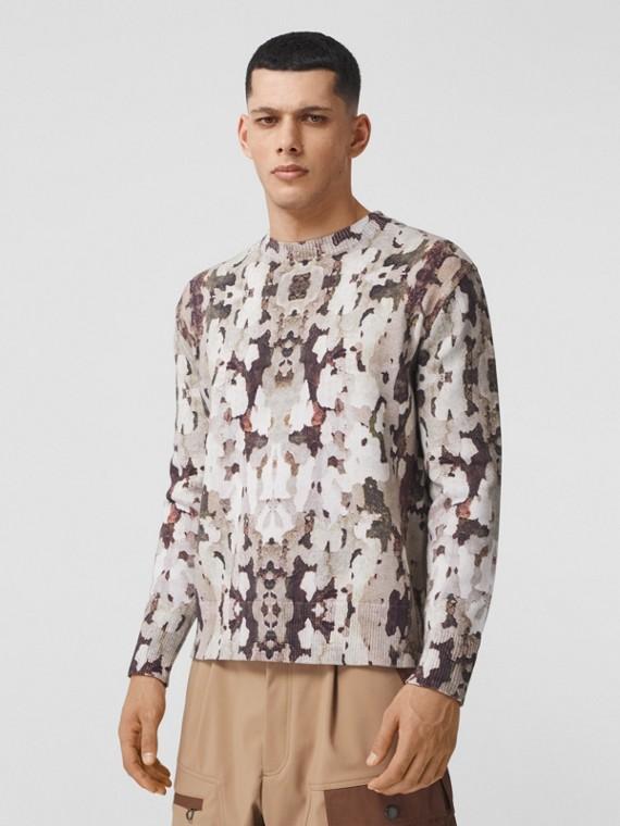 Suéter de algodão com estampa de camuflagem (Mel)